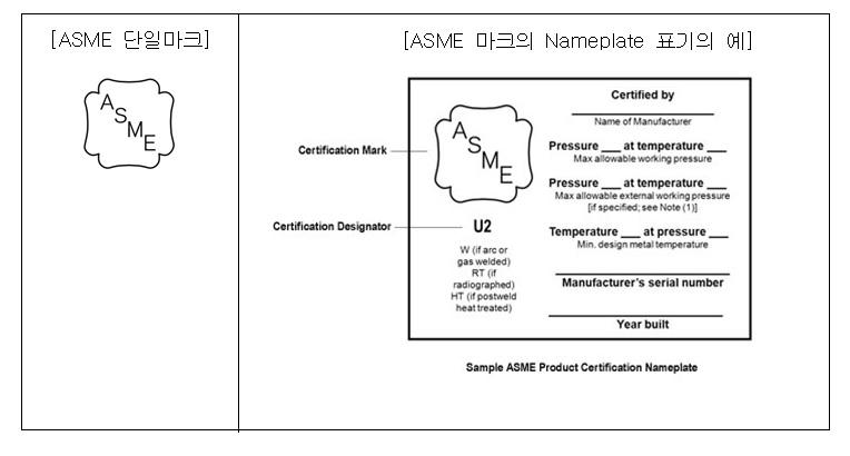 ASME(압력용기)표시사항